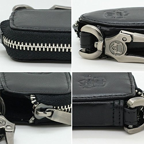 Genuine Cow Leather Zipper Bag Cover for FORD Smart Remote Key 3 Button Black 5707