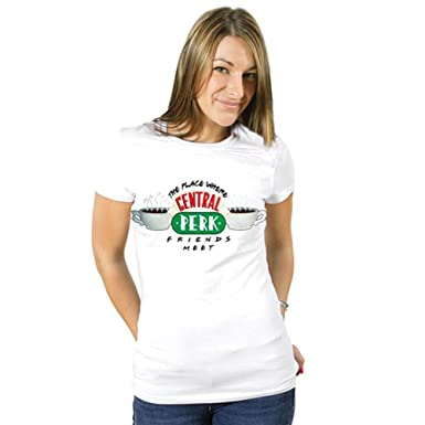 fd1cea514078 Friends Official Licensed Ladies Central Perk Fitted T-Shirt   Sizes S-XL  White