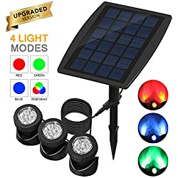 LemonBest 3-Head-Lamp Solar Light Spotlight RGB Color Changing 4-Light-Mode Underwater Submersible Lamps IP68 Waterproof for Outdoor Landscape Pond