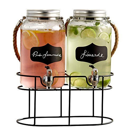Style Setter Trent 210570-GB 3.8 Liters Each Glass Beverage Drink Dispenser Set with Metal Stand & Lid, 14 x 7.5 x 13