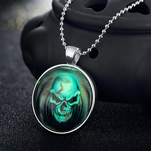 Generic 109-_Halloween_ luminous man boy men _and_ women girl couple jewelry _punk_skull_ necklace pendant silver _plated_ jewelry _king_tide