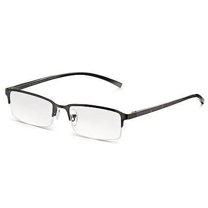 Read Optics Gafas de Lectura Presbicia Hombre +1,5 (o +1 a +3,5). Lentes Rectangulares Antireflejos y Rasguño Resistentes. Medio Marco, Bisagras de ...