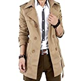 SPRINGWIND Men's Double Breasted Slim Trench Coat Jacket Overcoat Khaki L
