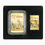 INDIAN MOTORCYCLE 1918 WORLD WAR I MILITARY Glass Ashtray Oil Lighter Gift Set D-289