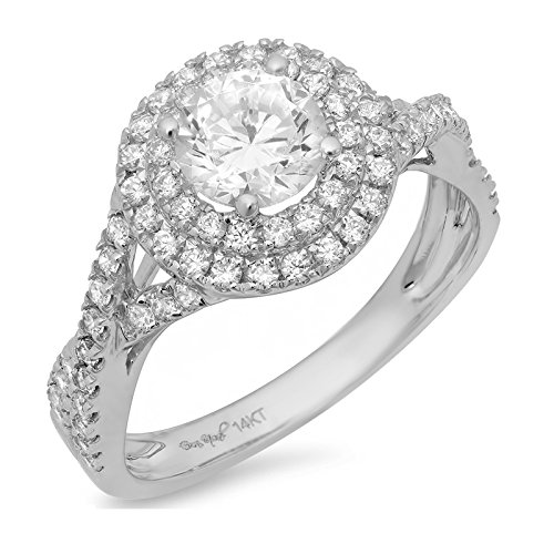 Clara Pucci 1.3 CT Round Cut Pave Halo Promide Bridal Engagement Ring Band 14k White Gold, Size 7 by Clara Pucci (Image #1)