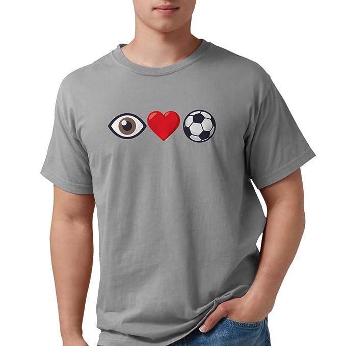 3544ca45749f77 Amazon.com  CafePress I Heart Soccer Emoji Mens Comfort Colors Shirt ...