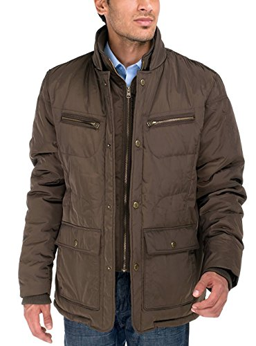 LN LUCIANO NATAZZI Men's Patton Four-Pocket Quilted Puffer Jacket (X-Large, Olive Brown)