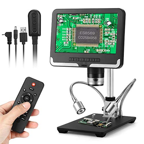 Handheld Digital Microscope,7 inch LCD Display 1080P Wireless Remote Control Digital Microscope with Adjustable Stand,USB Output Camera Video Recorder with 8 LED Adjustable Light Source
