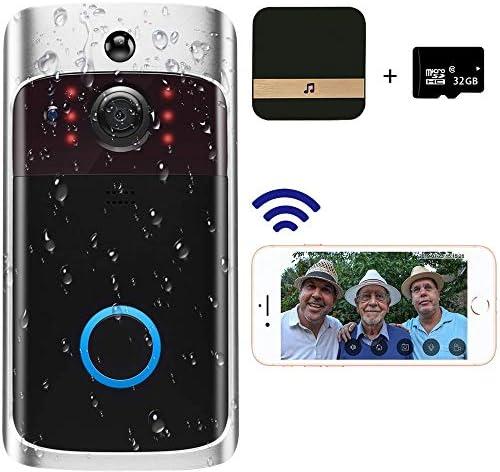 ワイヤレステレビドアホン 玄関チャイム 720HDリアルタイムビデオ会話機能 ナイトビジョン PIR動き検出 Wi-Fi対応 携帯コントロール可能 166度広角レンズ 防塵防水