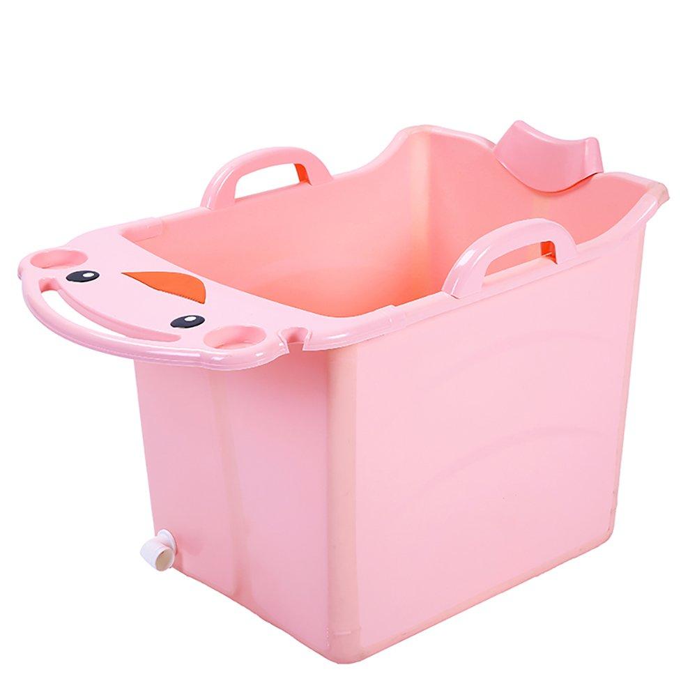 Folding bathtub TOYM US Foldable Children's Bath Tub Baby Tub Children Can Take A Bath (Color : Pink)