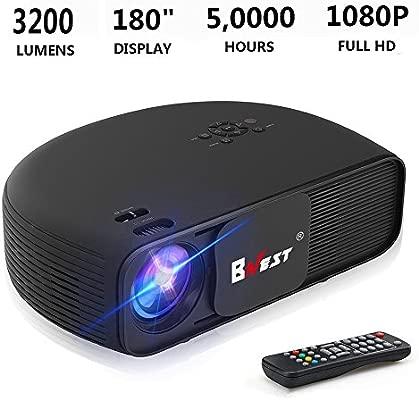 Proyector de video, HD 1080P 3200 lúmenes Mini proyector portátil para Home Theater Office Juego de soporte multimedia Fire TV Stick HDMI USB Tarjeta ...
