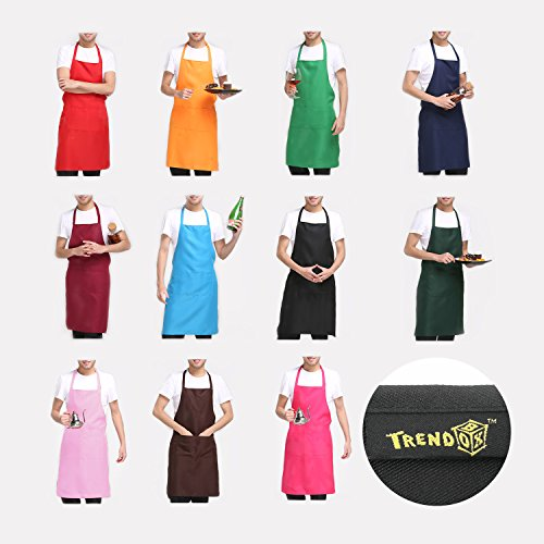 """TrendBox Total 11 PCS Plain Color (Large Size) Bib Apron Adult Women Unisex for Waist size 30"""" to 42"""" Durable Comfortable with Front Pocket Washable For Cooking Baking Kitchen Restaurant crafting"""