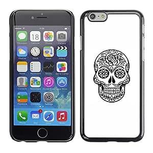 GOODTHINGS Funda Imagen Diseño Carcasa Tapa Trasera Negro Cover Skin Case para Apple Iphone 6 - cráneo de la muerte de metal negro con tinta blanca