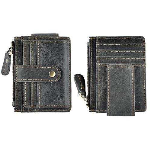 Le'aokuu Genuine Leather Magnet Money Clip Credit Card Case Holder Slim Handy Wallet (W1024 grey 2) - Credit Card Money Holder Case