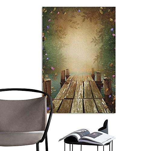 Jaydevn Wall Mural Wallpaper Stickers Spring Coming of The Spring Themed Lake and Blooming Flowers Illustration with Wooden Pier Multicolor Lady Room Wall W20 x H28 ()