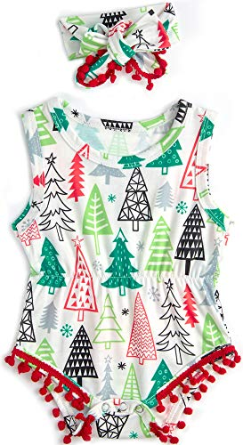 Toddler Baby Onesie Sleeveless Jumpsuits Newborn Boy's Summer Christmas Tree 3D Print Rompers Infant Girl's Outfit Clothes Summer Playsuits Winter Bodysuits 2 Pcs Set -