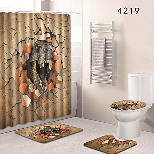 (Oyeahbridal Set of 4 Animal 3D Dinosaur Theme Shower Curtain and Bath Mat Set,Tyrannosaurus Rex Decor Waterproof Non-slip Bathroom Curtain and Rug Set with Hooks(Multi 17))
