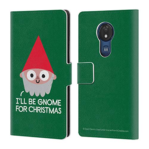 Official David Olenick Gnome Holidays Leather Book Wallet Case Cover Compatible for Motorola Moto G7 Power