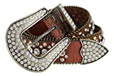 Women's Western Cowgirl Rhinestone Studded Leather Belt 1-1/2'' Wide (XX-Large, Brown)