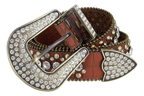 Western Rhinestone Belt Buckle - Women's Western Cowgirl Rhinestone Studded Leather Belt 1-1/2
