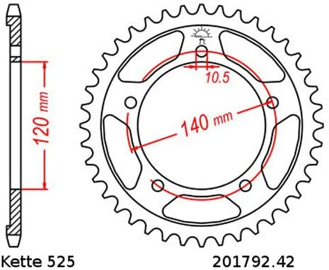 Kettensatz geeignet f/ür GSR750 11-17 Kette DID 525 ZVM-X 112 offen 17//42