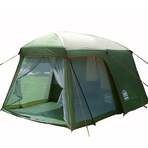 Double Layer Garden Tent 3 4 Person Large Family Camping Tent Outdoor Leisure 4 Seasons Tourist Waterproof Tents 2 Rooms Green