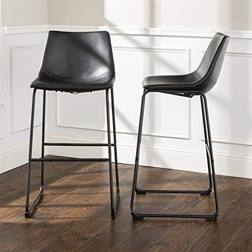 """Walker Edison Furniture Company 30"""" Industrial Faux Leather Armless Indoor Kitchen Dining Chair Barstool with Metal Legs Upholstered, Set of 2, Black -  CHL30BL"""