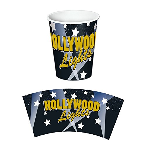 Hollywood Lights Beverage - Club Pack of 96 Hollywood Lights Disposable Paper Hot and Cold Beverage Cups 9 oz.
