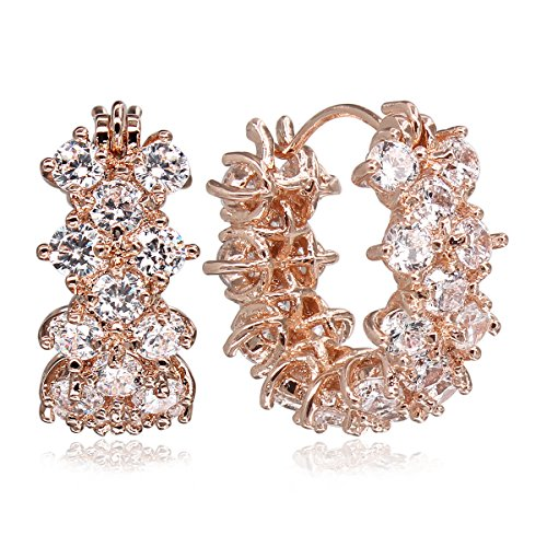 (DANNICCI Rose Gold Plated Greek Myth Vintage Rhinestone Micro Pave Pierced Hoop Earrings)