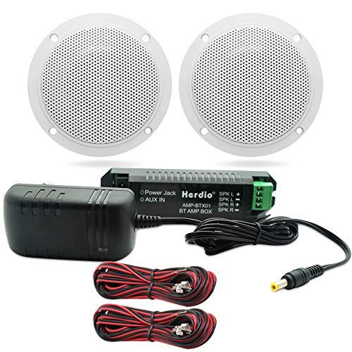 Herdio 4 Inches Waterproof Marine Bluetooth Ceiling Speakers for Bathroom Kitchen Home Outdoor Camper Golf Cart Boat…