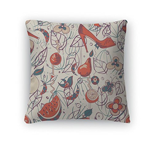 (Gear New Throw Pillow Accent Decor, Pattern With Shoes And A Bird Fashionable Modern Wallpaper Or Textile, 20