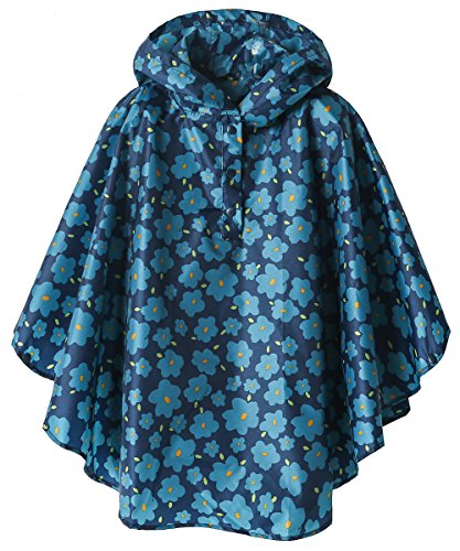 Lightweight Kids Rain Poncho Jacket Waterproof Outwear Rain Coat,Blue Flower,XL
