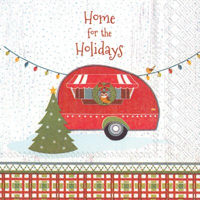 Christmas-Themed Home For The Holidays Camping Theme Beverage Napkins (40 Count)