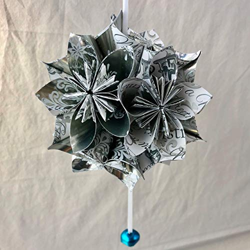 Silver and White Origami Paper Flower Christmas Tree Ornament