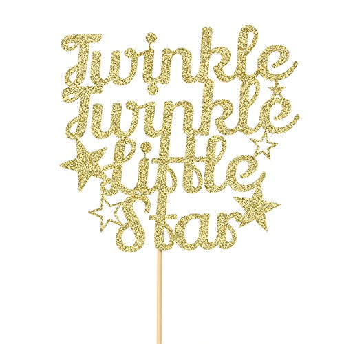 Twinkle Twinkle Little Star Cake Topper Gold Glitter Baby Party The First Birthday Party Decorations