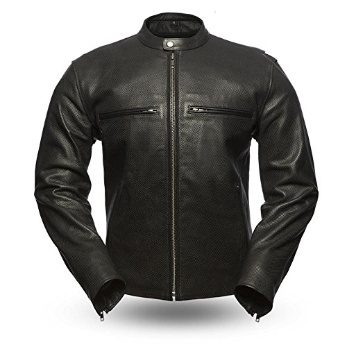 First Mfg Co Perforated naked cowhide Men's Turbine Leather Jacket (Black, X-Large)