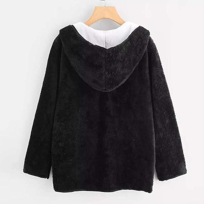 DEELIN Invierno De La Mujer Negro Chaqueta De Felpa Casual Doble Bolsillo con Capucha Chaqueta De La Camisa Abrigo: Amazon.es: Ropa y accesorios