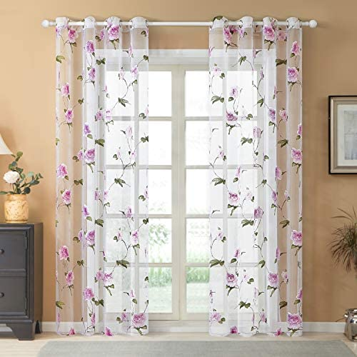 Top Finel Floral Sheer Curtains 96 Inches Long for Living Room Bedroom Grommet Voile Window Curtains, 2 Panels, Pink Flower