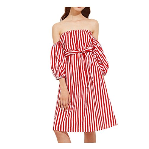 Womens 3/4 Sleeve Sexy Off Shoulder Ladies Casual Red Striped Dress With Belt (L, Red)