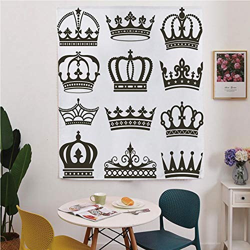 Royalty Vintage Images Free - King Blackout Window curtain,Free Punching Magic Stickers Curtain,Symbol of Royalty Crowns Tiaras for Reign Noble Queen Prince Princess Cartoon Image Decorative,for Living Room,study, kitchen, dormito