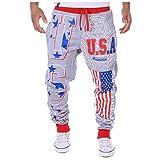 Men Fashion Sports Slim Casual Comfort Printing Sweatpants Pathwork Wold Printed Pants Gray
