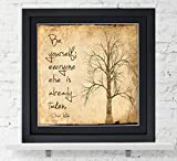 Oscar Wilde Classic Inspirational Quote, Fine Art Print, Be Yourself. Vintage Style Literary Poster