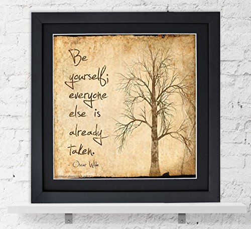Oscar Wilde Classic Inspirational Quote, Fine Art Print, Be Yourself. Vintage Style Literary Poster - Yourself Fine Art
