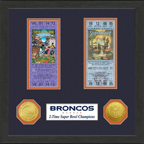 NFL Denver Broncos SB Championship Ticket Collection Frame - Highland Mint Nfl Football