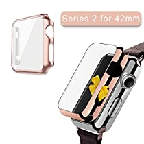 Apple Watch Series 2 Case 42mm, 2win2buy Full Cover Apple Watch Series 2/Nike Case Slim Hard PC Plated Protective Bumper Cover & 0.2mm Shockproof Sheld Guard Screen Protector for iWatch 2016 Rose Gold