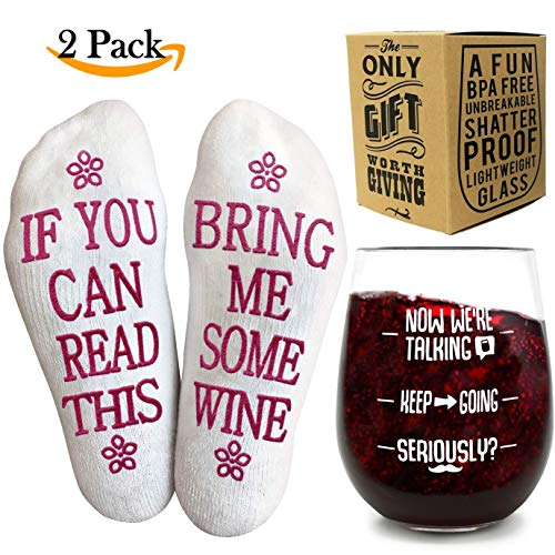 Funny Wine Glass + Wine Socks - Perfect gift sets women with an UNBREAKABLE 16 oz / 450ml, BPA Free Funny Wine Glass for Women combined with Funny Wine Socks