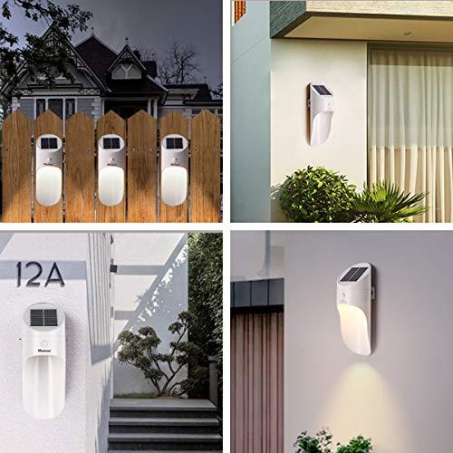 Solarbetriebene Wandlampen ,Microwear Solarleuchte mit Bewegungsmelder,Wireless IP65 Wasserdichte,LED Solar Wandleuchten für Haustür,Garten,Garage,Hinterhof (Warmes Licht)