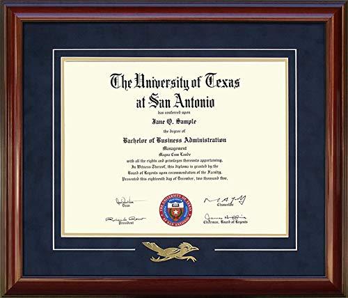 Wordyisms UT San Antonio (UTSA) Diploma Frame with Embossed Rowdy