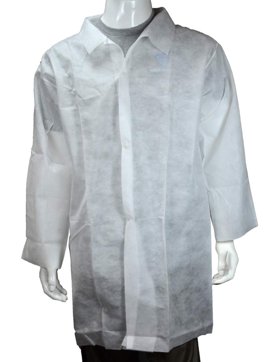 West Chester X-Large White Polypropylene Disposable 39'' Lab Coat - Pack of 10