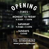 Opening Hours Sign Opening Times Sign For Shop Window Sticker V5 Open Closed Sign Business Hours Personalised Business Window Stickers Personalised Bespoke Signage Decals